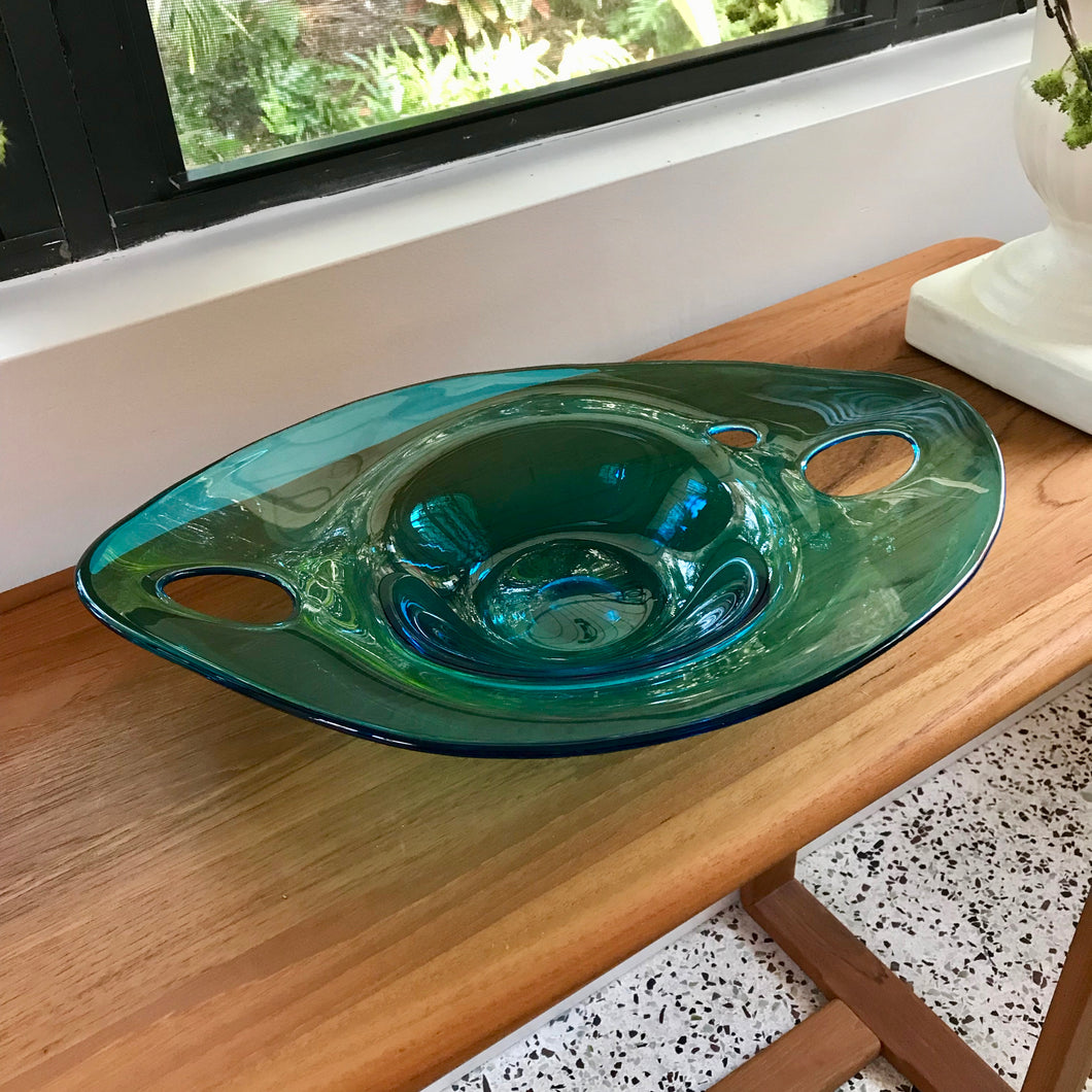 Teal Long Bowl with