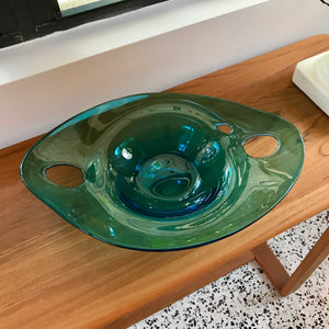 "Teal Long Bowl with ""Handles"""
