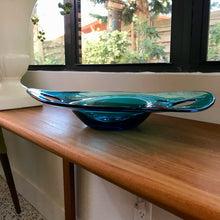 "Load image into Gallery viewer, Teal Long Bowl with ""Handles"""