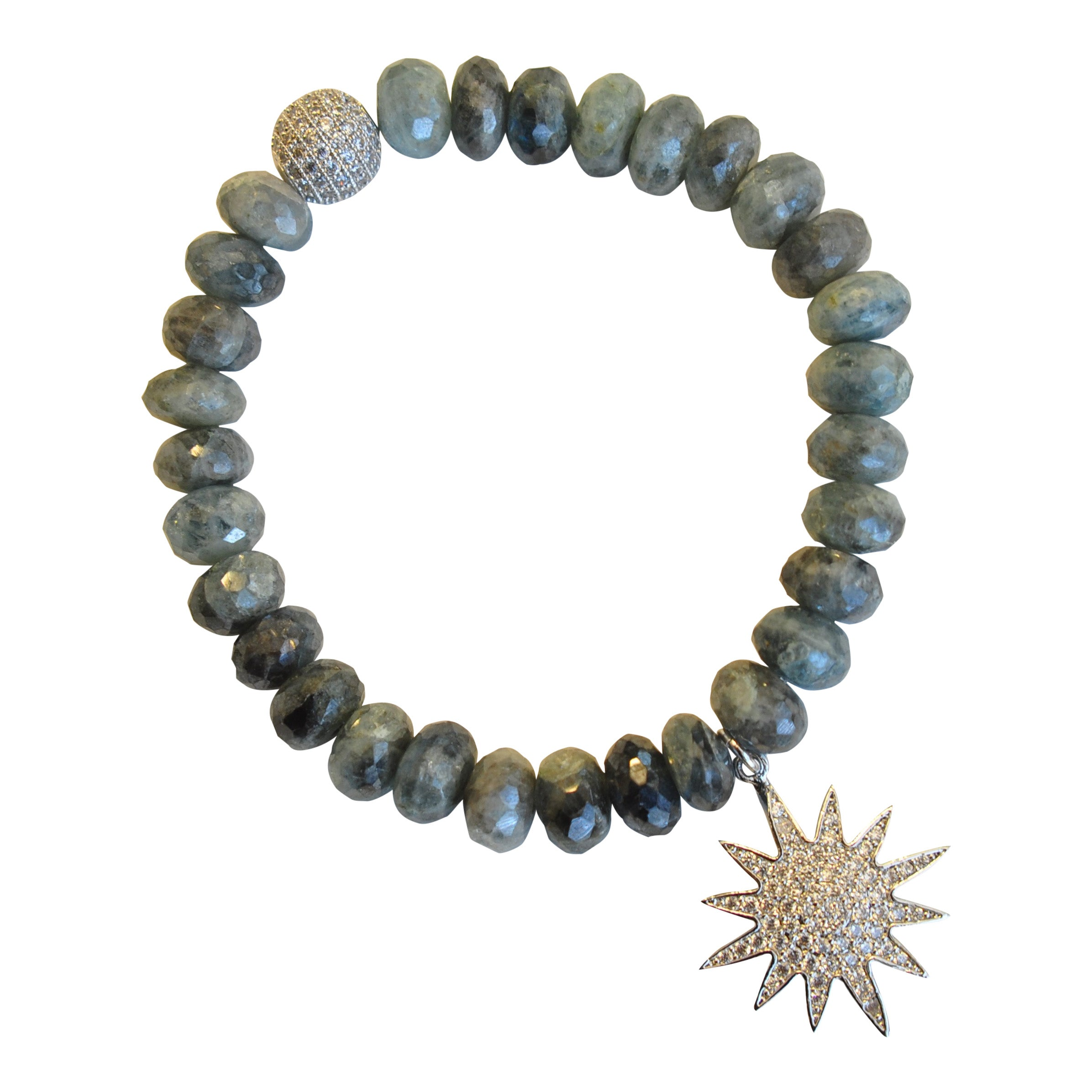 Iolite Beaded Bracelet with Micropave Sunburst