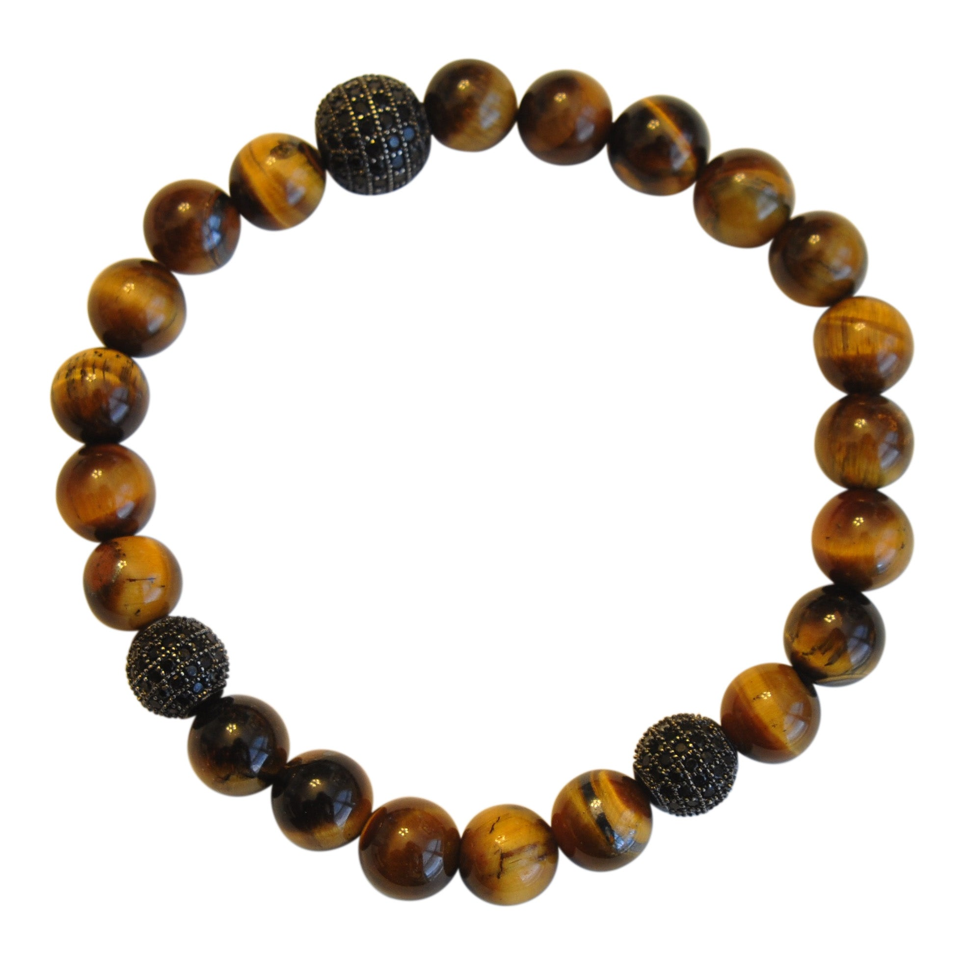 Mens Cats Eye Jet Micropave beaded bracelet