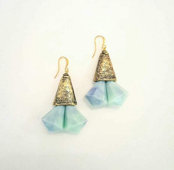 Blue Sea Marble Earrings