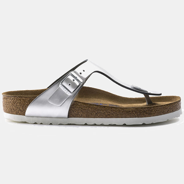 Birkenstock GIZEH Metallic Silver  with Soft Footbed