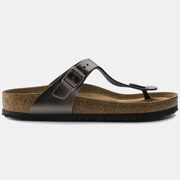 Birkenstock GIZEH Metallic Anthracite with Soft Footbed