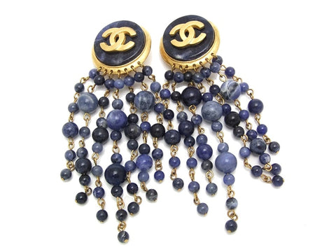 Authentic vintage Chanel earrings CC navy blue beads fringe dangle