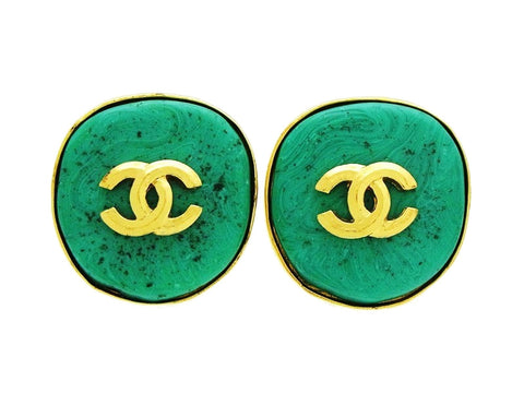 Vintage Chanel round earrings CC logo blue stone Authentic