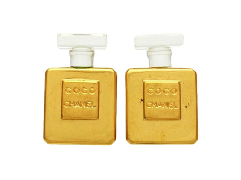 Vintage Chanel earrings perfume bottle logo