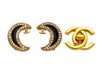 Vintage Chanel earrings CC logo crescent moon rhinestone