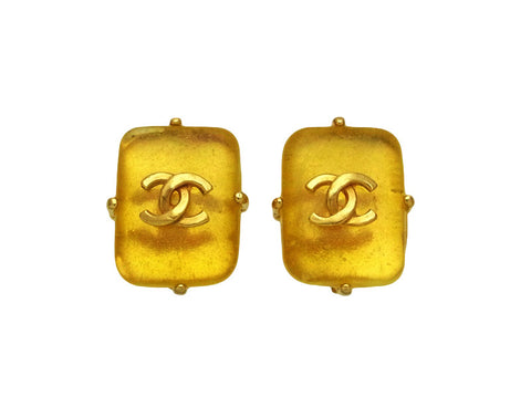 Vintage Chanel earrings CC logo yellow gold stone