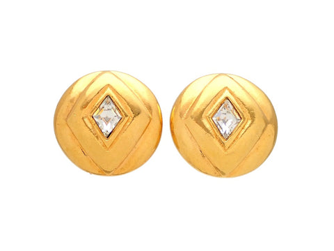 Authentic vintage Chanel earrings Round Rhombus Stone