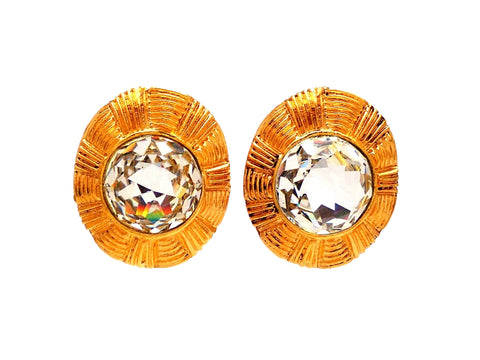 Authentic vintage Chanel earrings Round Clear Glass Stone