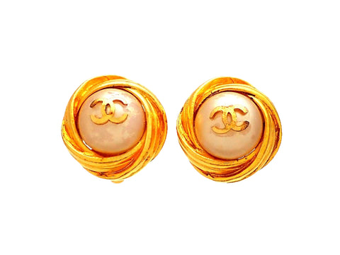 Authentic vintage Chanel earrings Gold Framed Round Faux Pearl CC logo