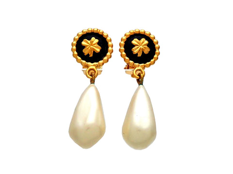 Authentic vintage Chanel earrings Clover Round Clip Faux Pearl Drop Dangled