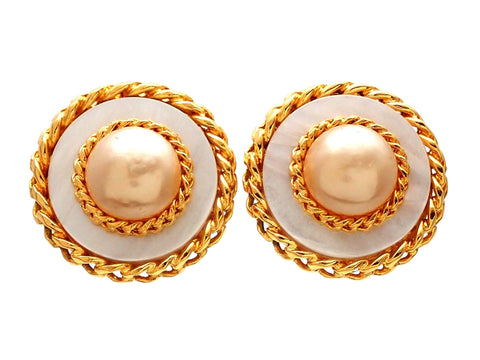 Authentic vintage Chanel earrings Faux Pearl Rope Round