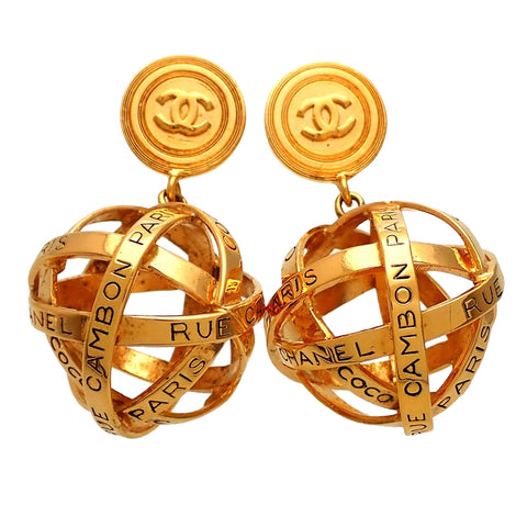 Authentic vintage Chanel earrings CC logo Paris Rue Cambon Ball Dangled