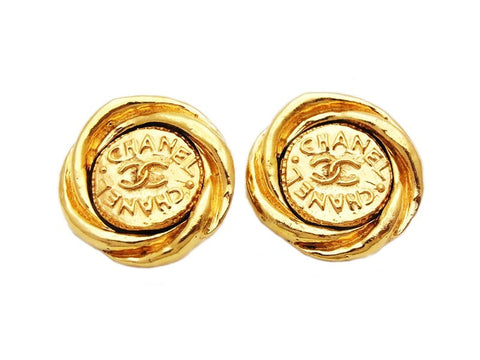 Authentic vintage Chanel earrings gold CC logo medal classic jewelry