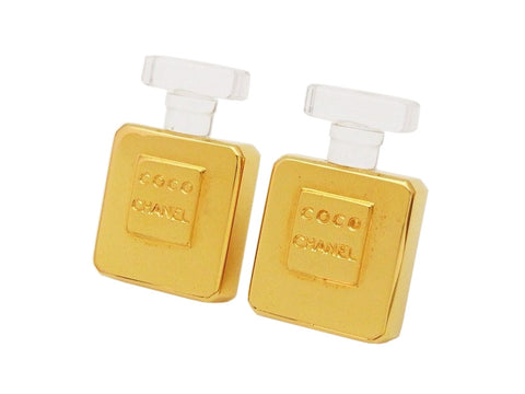 Authentic vintage Chanel earrings logo gold perfume bottle large