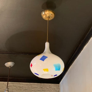 Mid Century Modern Color Patch Milk Glass Onion Shape Pendant Light