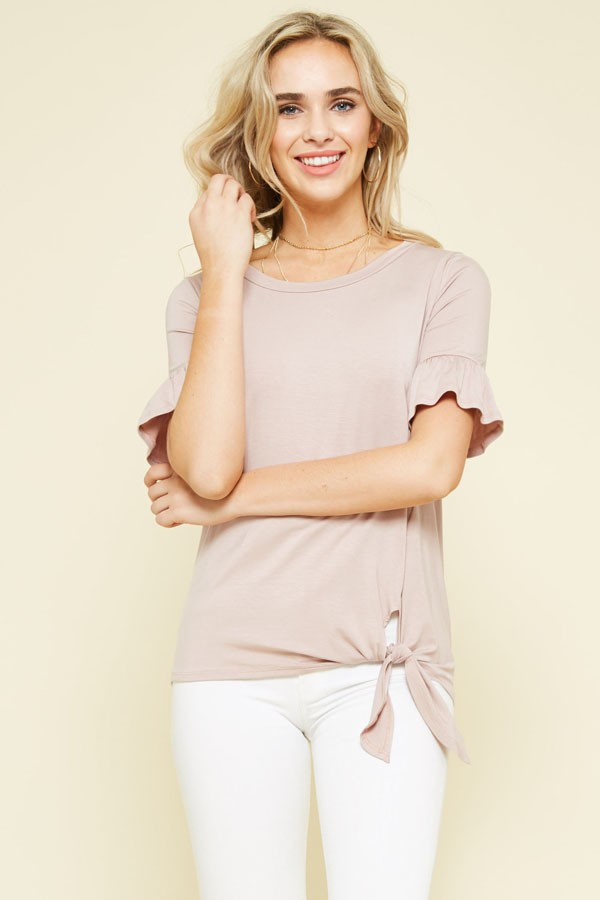 Blush Knit Top with Tie Detail