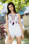 Embroidered White Tank