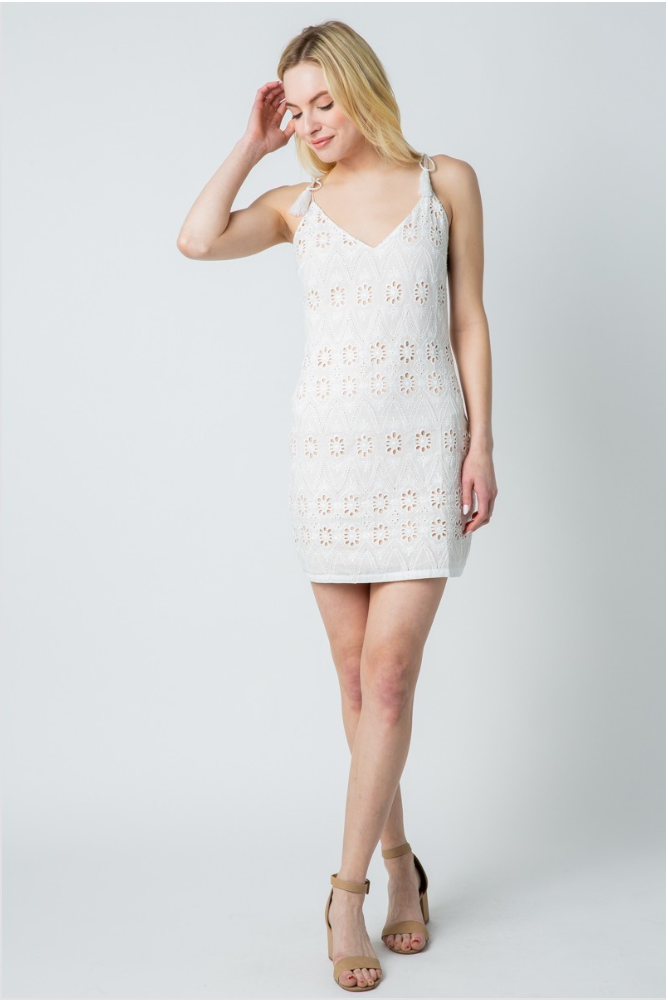 Ivory Crochet Eyelet Mini Dress