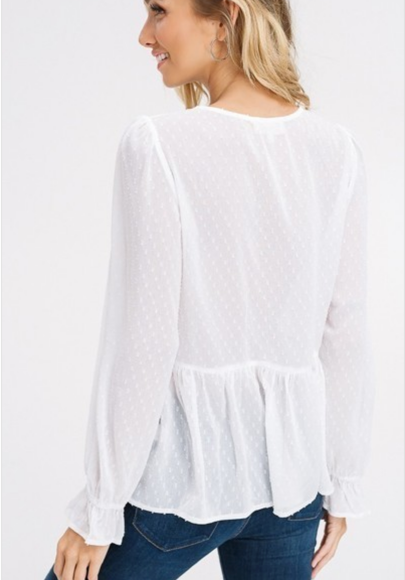 ivory sheer lace blouse back view
