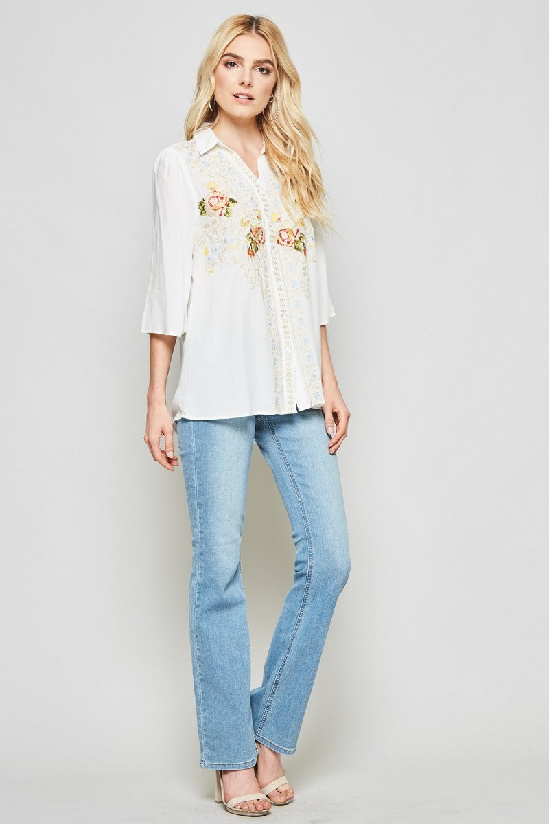 Ivory Floral Embroidered Top