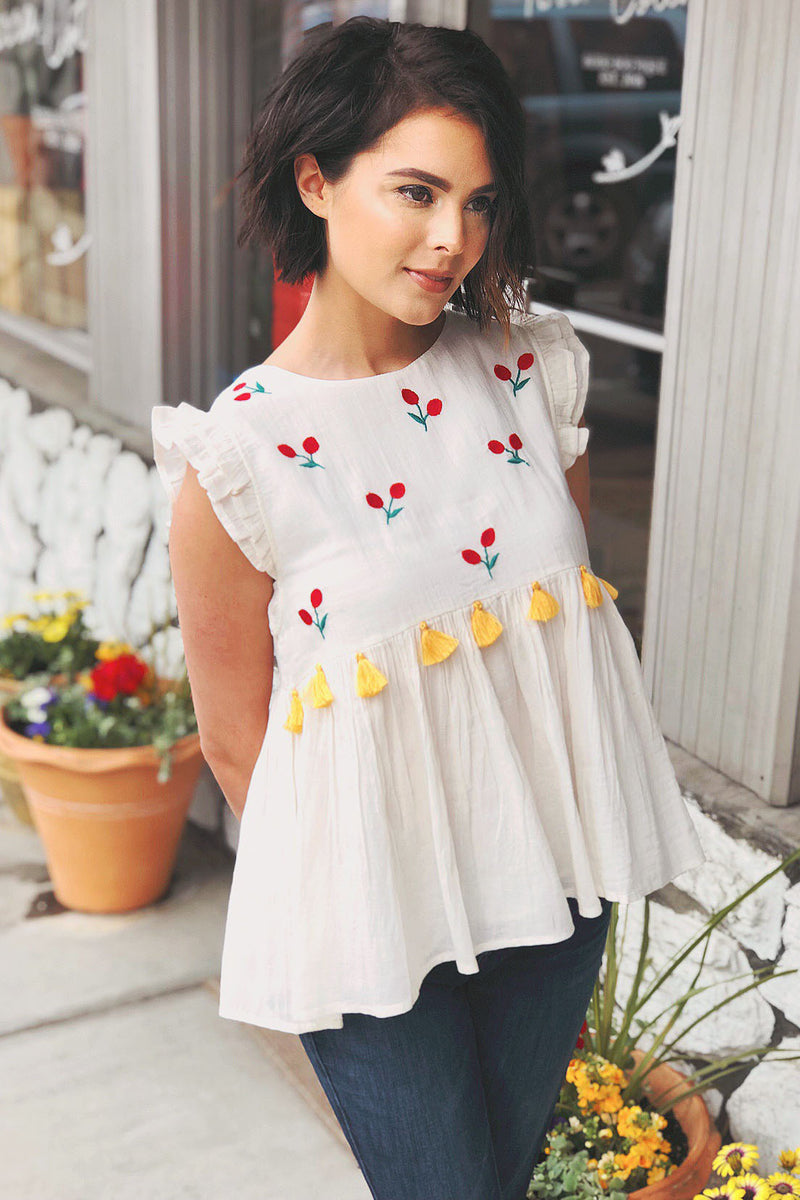 Embroidered Cherry Babydoll Top