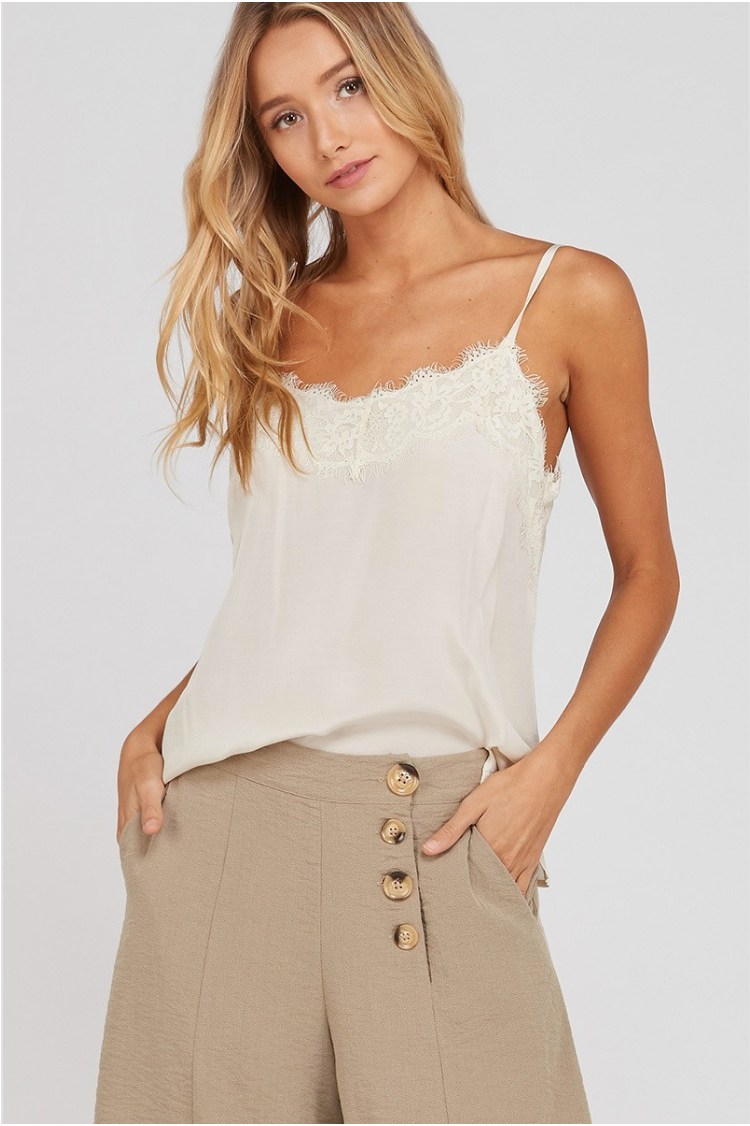 Woven Lace Trim Cami