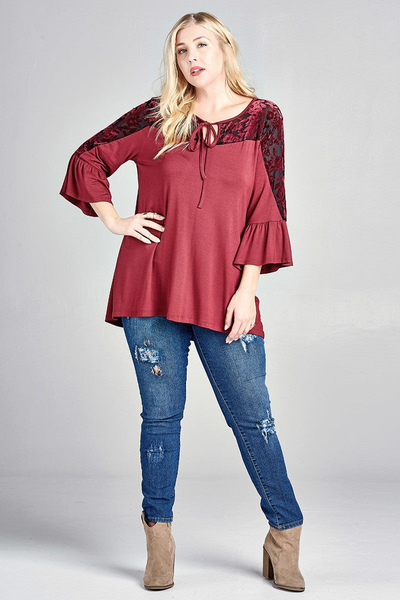 Loose Knit Top with Burn-Out Velvet Floral Panel