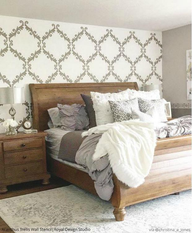 25 Favorite DIY Ideas: Modern Farmhouse Walls Stencils for Painting Shabby Chic Decor - Wall Stencil Patterns by Royal Design Studio
