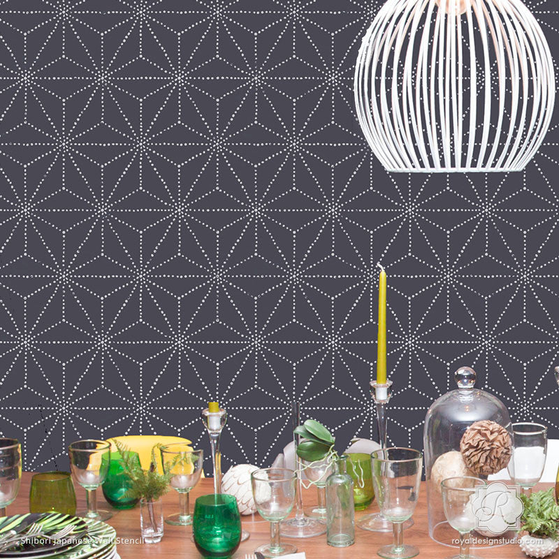 Asian and Oriental Decor with Large Geometric Wall Design - Shibori Japanese Wall Stencils - Royal Design Studio