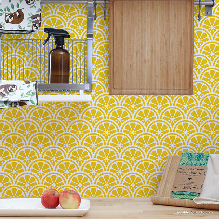 Lemons Wall Art Scallop Wall Pattern - Modern Kitchen Backslash Stencils - Lemon Wall Stencils - Royal Design Studio