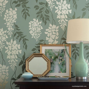 Classic Flower and Vine Wall Paint Stencils for Traditional Wall Decor - Royal Design Studio