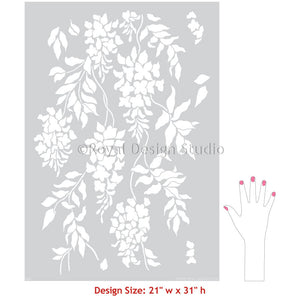 Neutral Wall Decor Wisteria Flowers Wallpaper Wall Stencils for Painting Floral Mural - Royal Design Studio