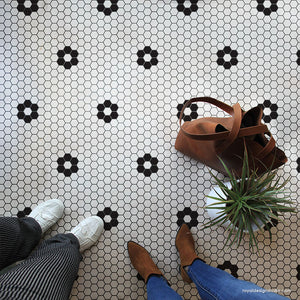 classic hexagon floor tiles penny tiles diy floors