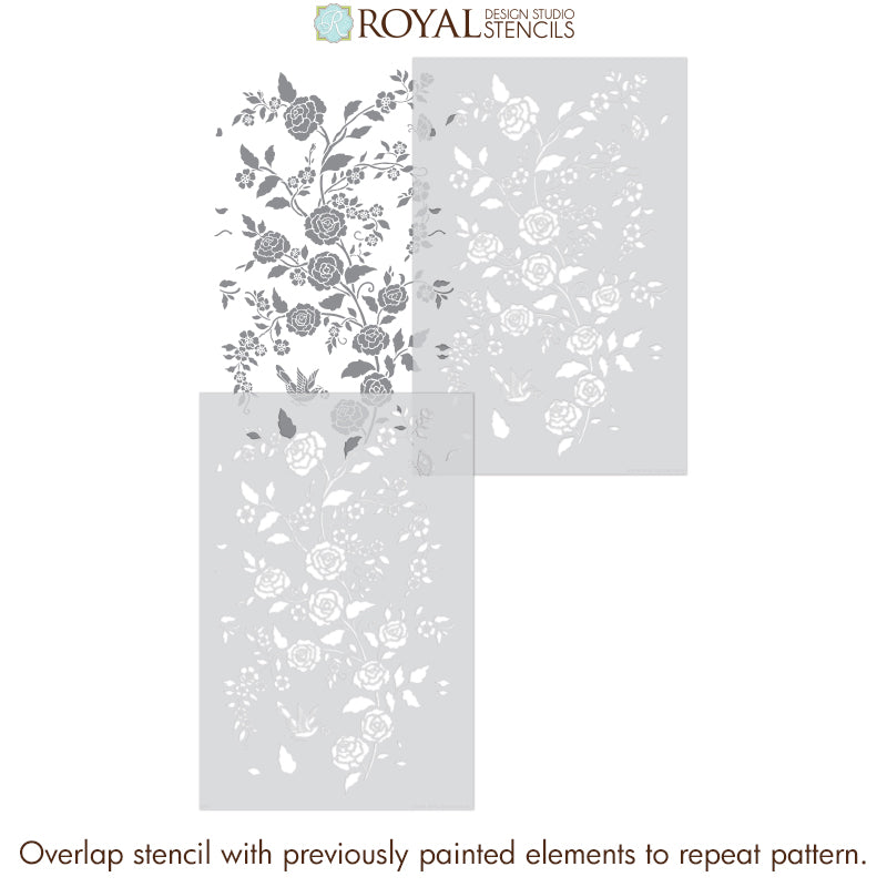 NEW! Meandering Rose Chinoiserie Wall Stencil