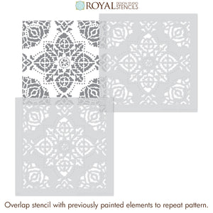 DIY Boho Decor Indian Style Block Print Pattern Floor Stencils Tile Stencils - Royal Design Studio