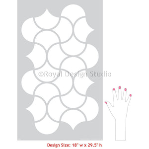 Modern Wall Design Stencils for Painting DIY Wall Mural - Art Deco Wall Stencils - Royal Design Studio