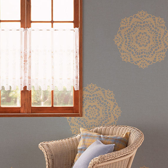 Painting Lacy Designs on Walls - Lace Doily Pattern Wall Stencils for Painting Wall Art - Royal Design Studio