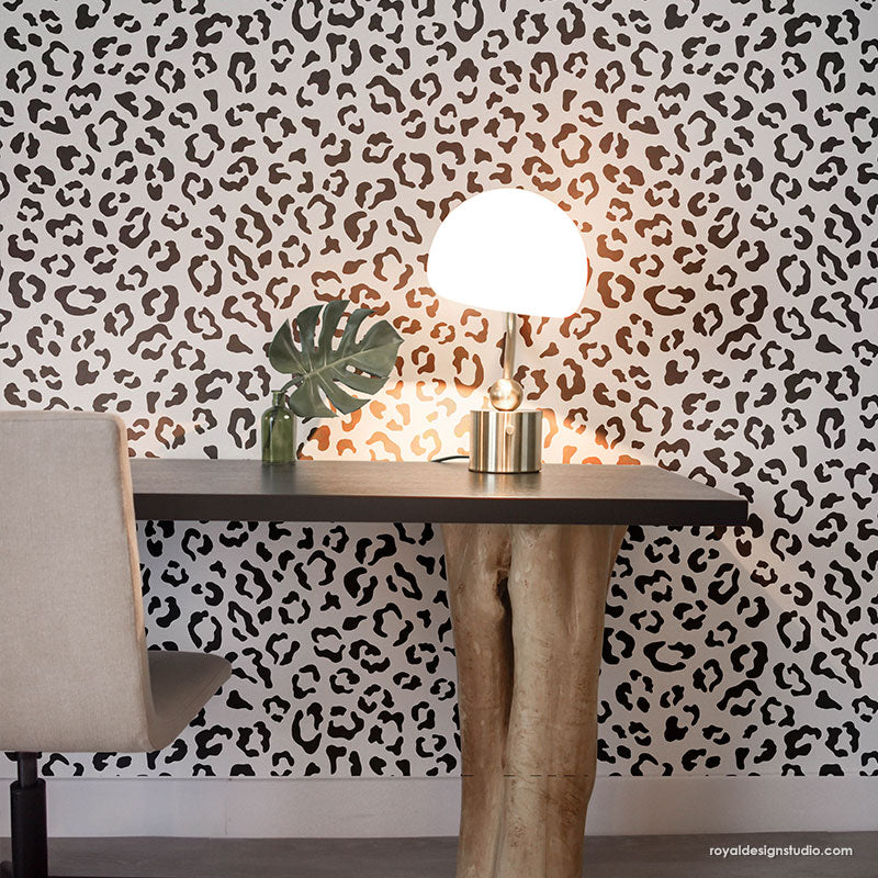 Leopard Print Wall Stencils - Cheetah Print Wallpaper - Animal Print Stencils for Wall Painting - Royal Design Studio