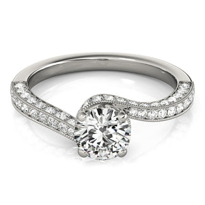 Milgrain Solitaire Engagement Ring Three Sided Pave'