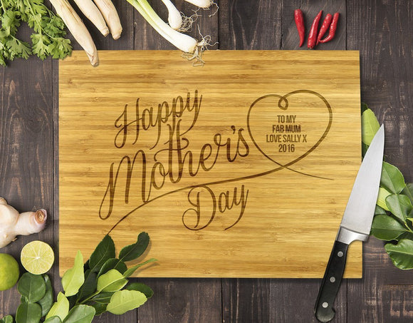 Happy Mother's Day Bamboo Cutting Board 12x16