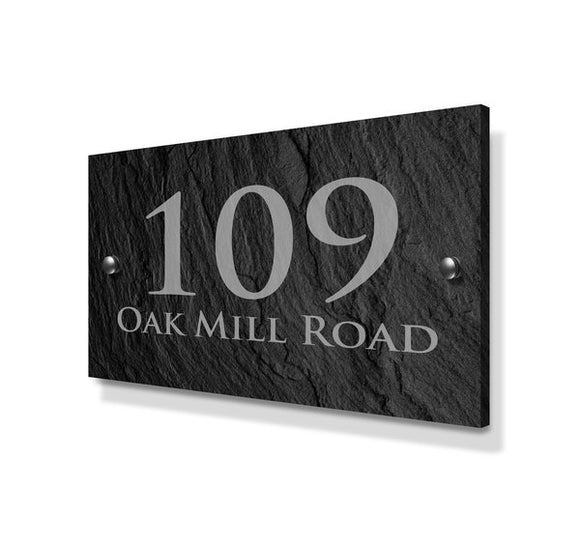 Slate Effect Large Metal House Sign