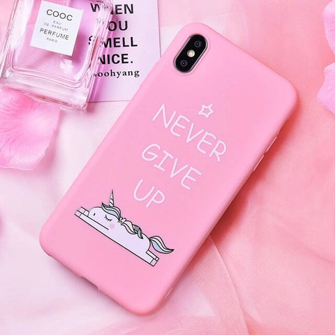 "Coque Licorne Iphone<br>""Never Give Up"" - monde-licorne"