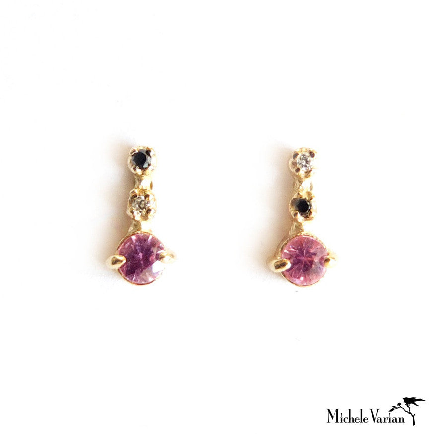 Pink Sapphire and Diamonds Earrings