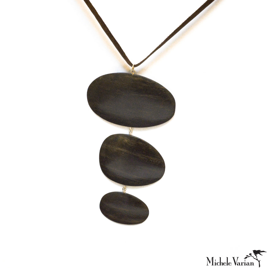 Ebony Wood and Silver Pendant Necklace