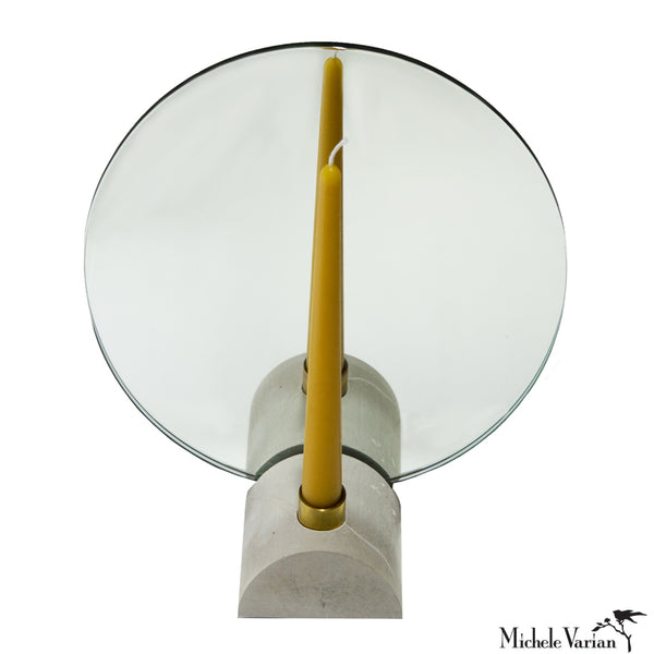 Circular Mirror with Cement Stand and Candle