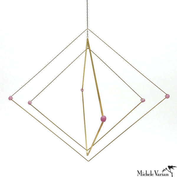 Glass and Brass Mobile Diamonds Blush