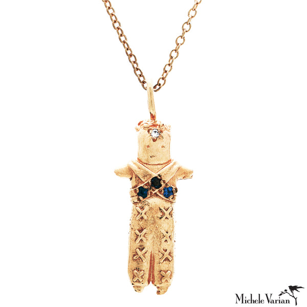 Tiny Worry Doll Charm Gold Necklace